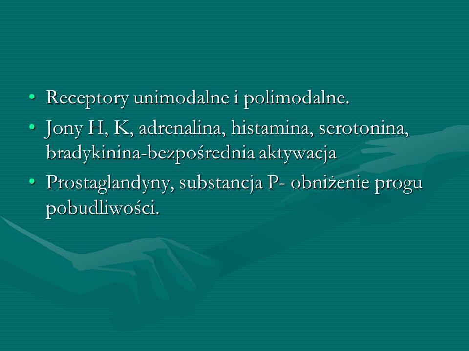 Receptory unimodalne i polimodalne.