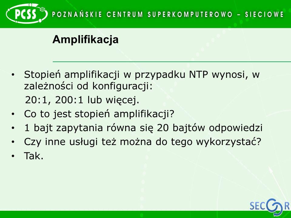 Amplifikacja Stopień amplifikacji w przypadku NTP wynosi, w zależności od konfiguracji: 20:1, 200:1 lub więcej.