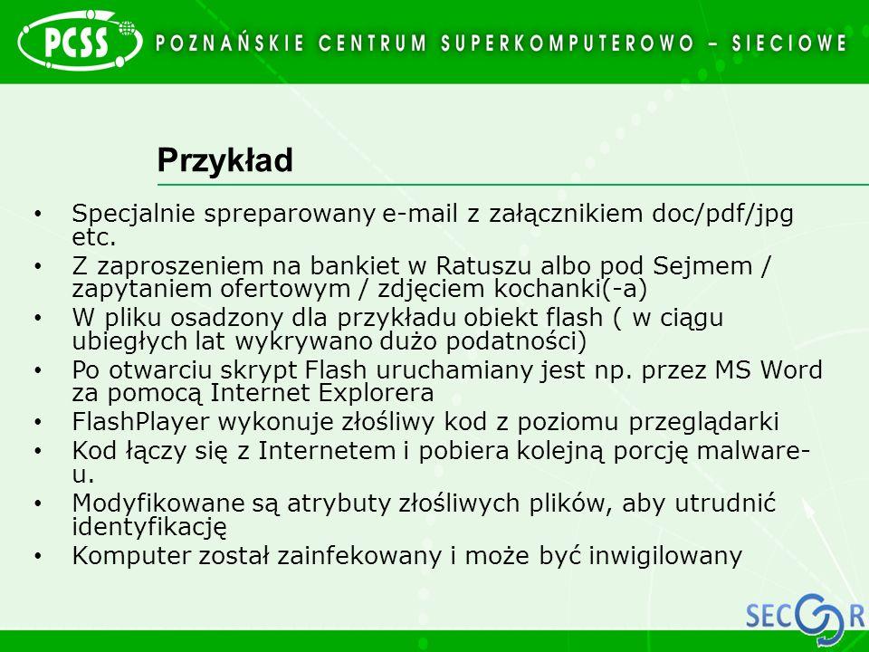 Przykład Specjalnie spreparowany e-mail z załącznikiem doc/pdf/jpg etc.