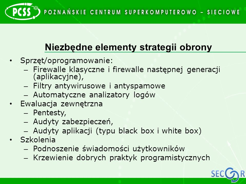 Niezbędne elementy strategii obrony