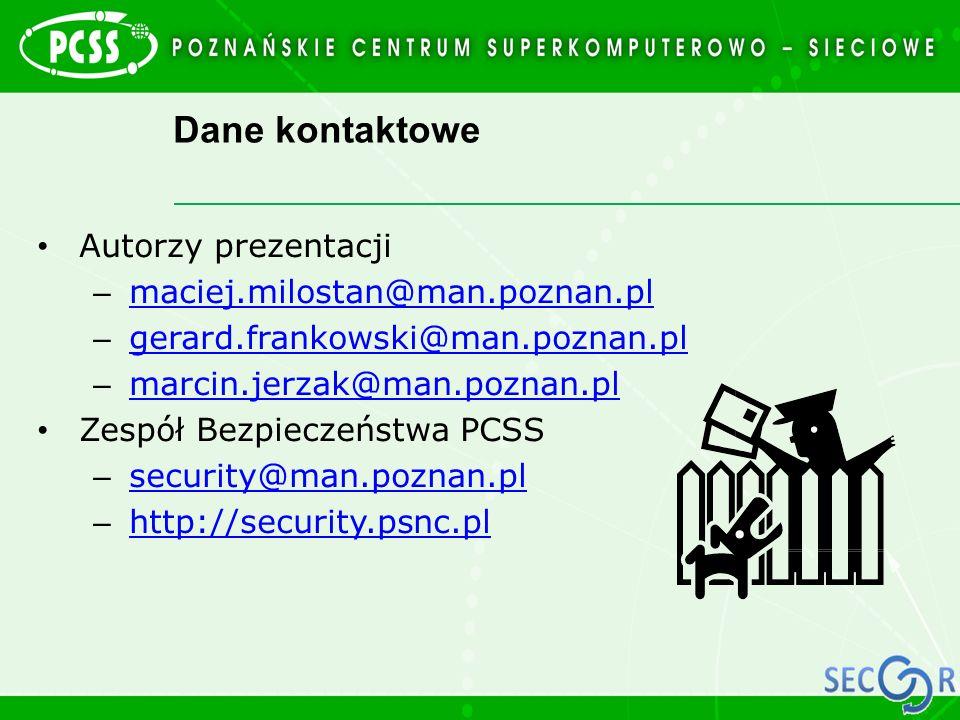Dane kontaktowe Autorzy prezentacji maciej.milostan@man.poznan.pl
