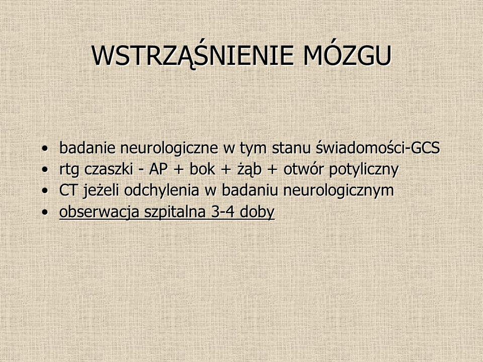 WSTRZĄŚNIENIE MÓZGU badanie neurologiczne w tym stanu świadomości-GCS