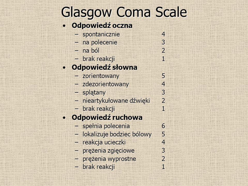 Glasgow Coma Scale Odpowiedź oczna Odpowiedź słowna Odpowiedź ruchowa