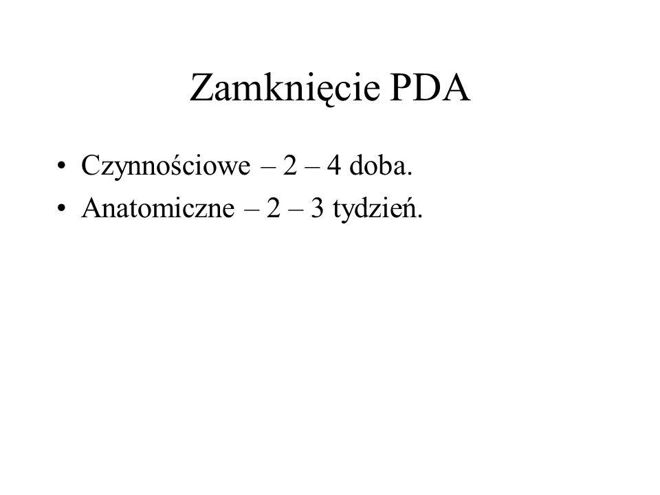 Zamknięcie PDA Czynnościowe – 2 – 4 doba. Anatomiczne – 2 – 3 tydzień.