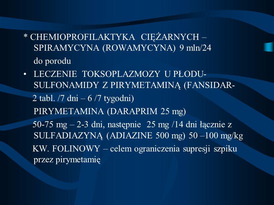 * CHEMIOPROFILAKTYKA CIĘŻARNYCH – SPIRAMYCYNA (ROWAMYCYNA) 9 mln/24