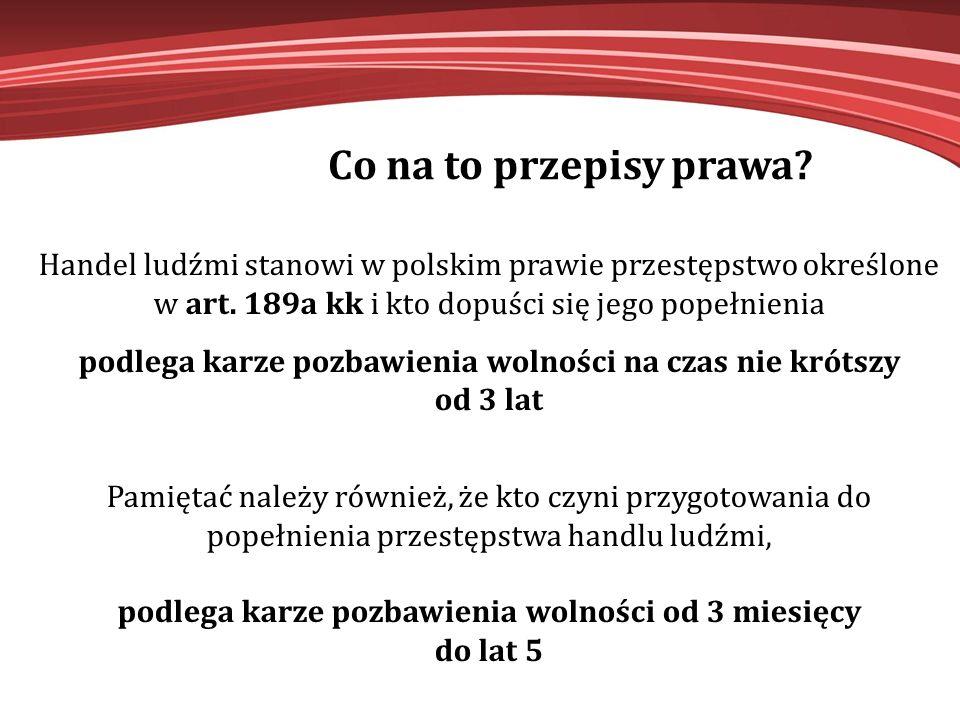 Co na to przepisy prawa Handel ludźmi stanowi w polskim prawie przestępstwo określone w art. 189a kk i kto dopuści się jego popełnienia.
