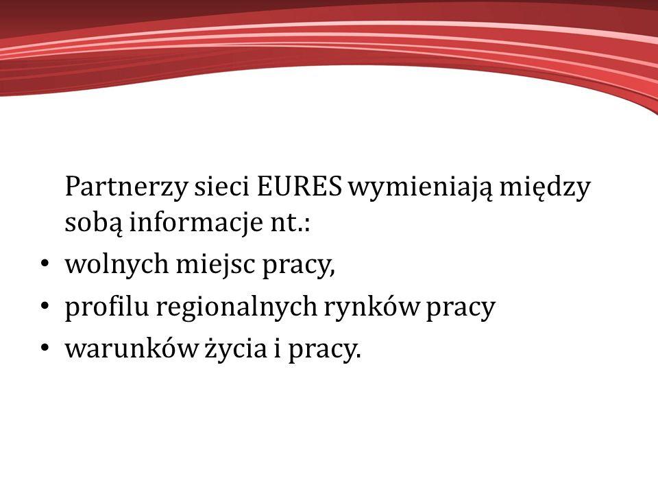 Partnerzy sieci EURES wymieniają między sobą informacje nt.: