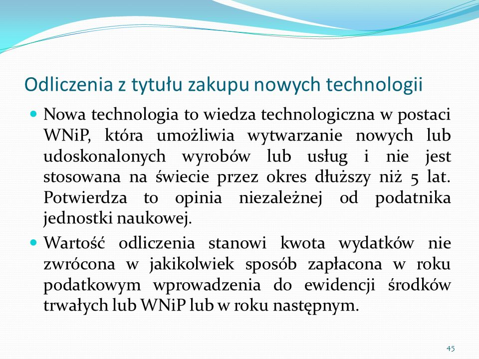 Odliczenia z tytułu zakupu nowych technologii