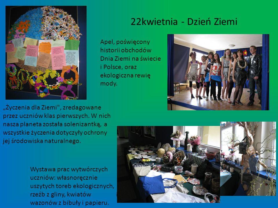 22kwietnia - Dzień ZiemiApel, poświęcony historii obchodów Dnia Ziemi na świecie i Polsce, oraz ekologiczna rewię mody.