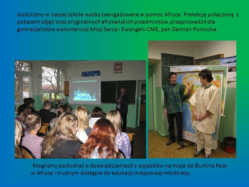 Gościliśmy w naszej szkole osoby zaangażowane w pomoc Afryce