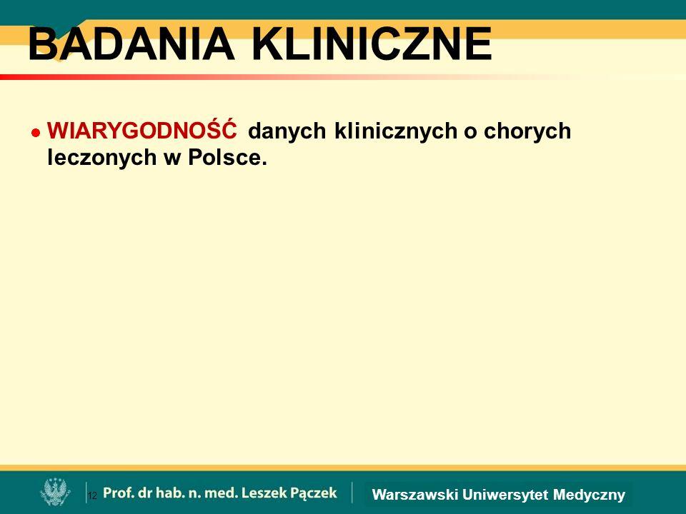 BADANIA KLINICZNE WIARYGODNOŚĆ danych klinicznych o chorych leczonych w Polsce.