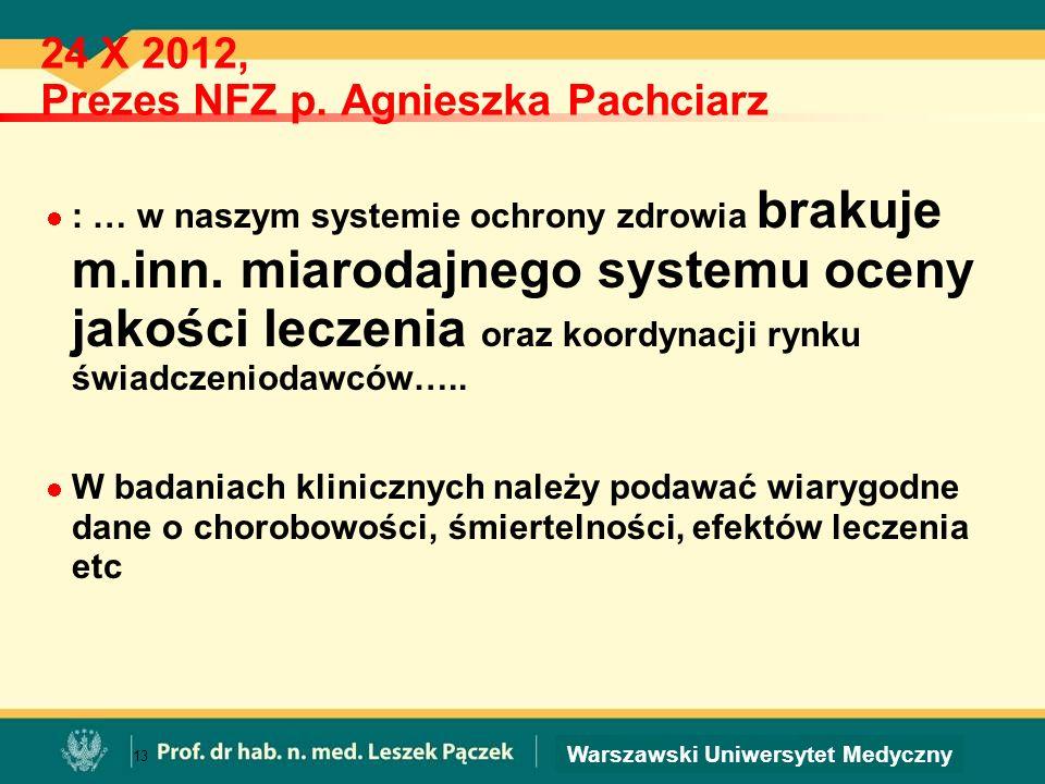 24 X 2012, Prezes NFZ p. Agnieszka Pachciarz