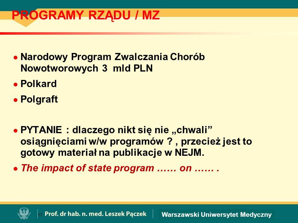 PROGRAMY RZĄDU / MZ Narodowy Program Zwalczania Chorób Nowotworowych 3 mld PLN. Polkard. Polgraft.