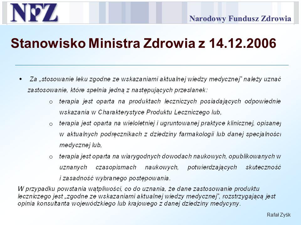 Stanowisko Ministra Zdrowia z 14.12.2006