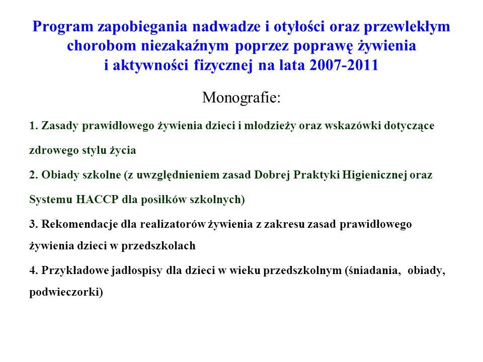 Program zapobiegania nadwadze i otyłości oraz przewlekłym chorobom niezakaźnym poprzez poprawę żywienia i aktywności fizycznej na lata 2007-2011