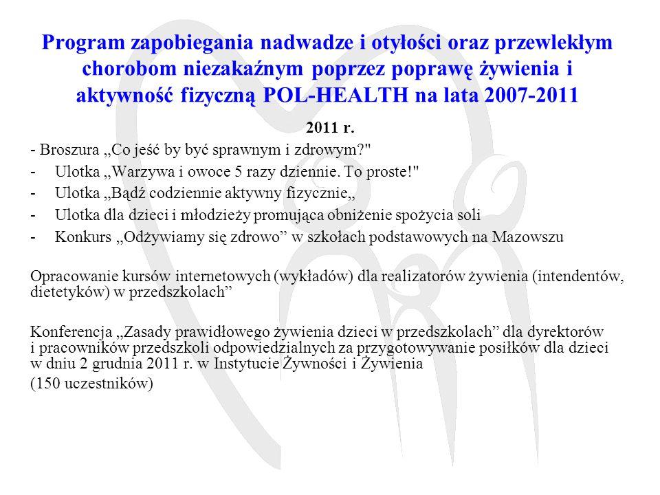 Program zapobiegania nadwadze i otyłości oraz przewlekłym chorobom niezakaźnym poprzez poprawę żywienia i aktywność fizyczną POL-HEALTH na lata 2007-2011