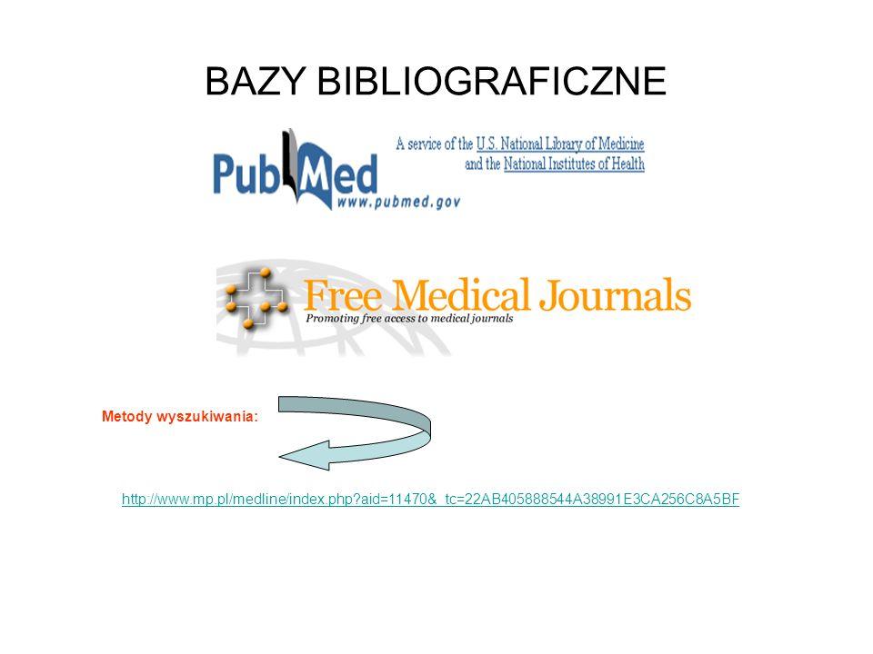 BAZY BIBLIOGRAFICZNE Metody wyszukiwania: