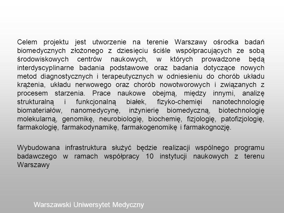 Celem projektu jest utworzenie na terenie Warszawy ośrodka badań biomedycznych złożonego z dziesięciu ściśle współpracujących ze sobą środowiskowych centrów naukowych, w których prowadzone będą interdyscyplinarne badania podstawowe oraz badania dotyczące nowych metod diagnostycznych i terapeutycznych w odniesieniu do chorób układu krążenia, układu nerwowego oraz chorób nowotworowych i związanych z procesem starzenia. Prace naukowe obejmą, między innymi, analizę strukturalną i funkcjonalną białek, fizyko-chemięi nanotechnologię biomateriałów, nanomedycynę, inżynierię biomedyczną, biotechnologię molekularną, genomikę, neurobiologię, biochemię, fizjologię, patofizjologię, farmakologię, farmakodynamikę, farmakogenomikę i farmakognozję. Wybudowana infrastruktura służyć będzie realizacji wspólnego programu badawczego w ramach współpracy 10 instytucji naukowych z terenu Warszawy