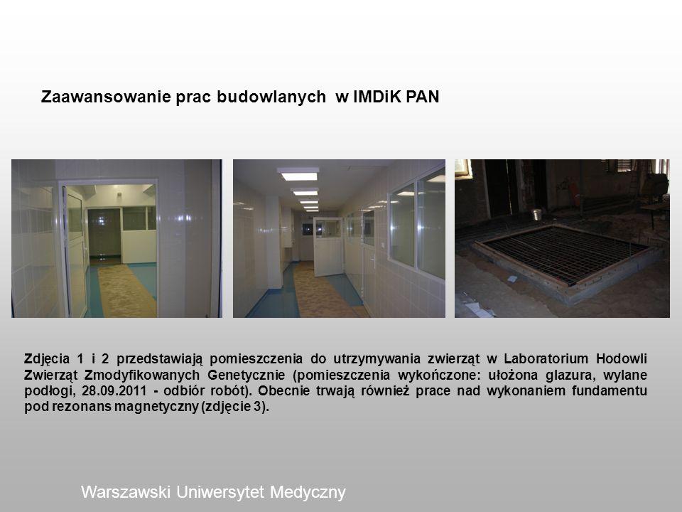 Zaawansowanie prac budowlanych w IMDiK PAN