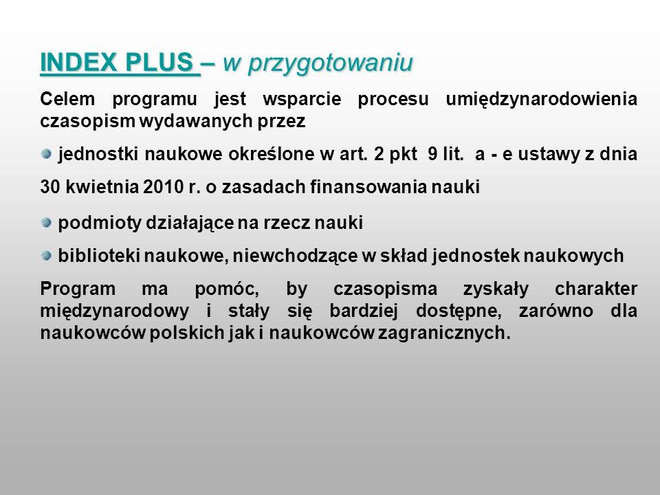 INDEX PLUS – w przygotowaniu