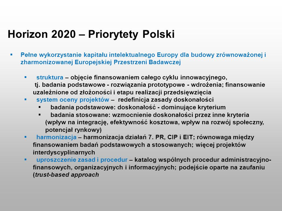 Horizon 2020 – Priorytety Polski