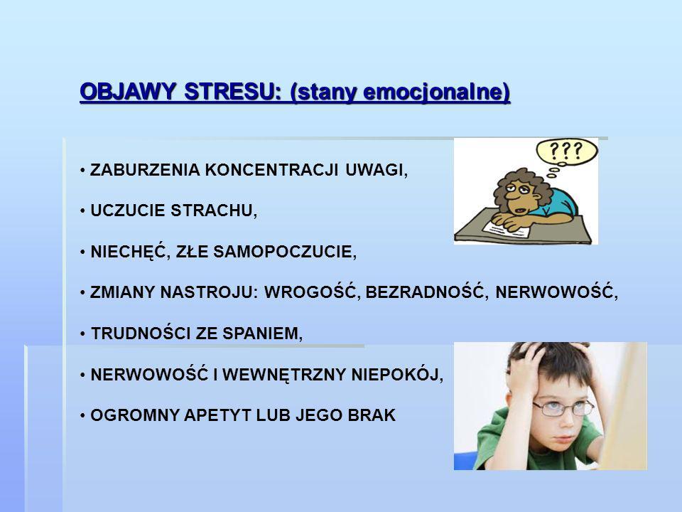 OBJAWY STRESU: (stany emocjonalne)