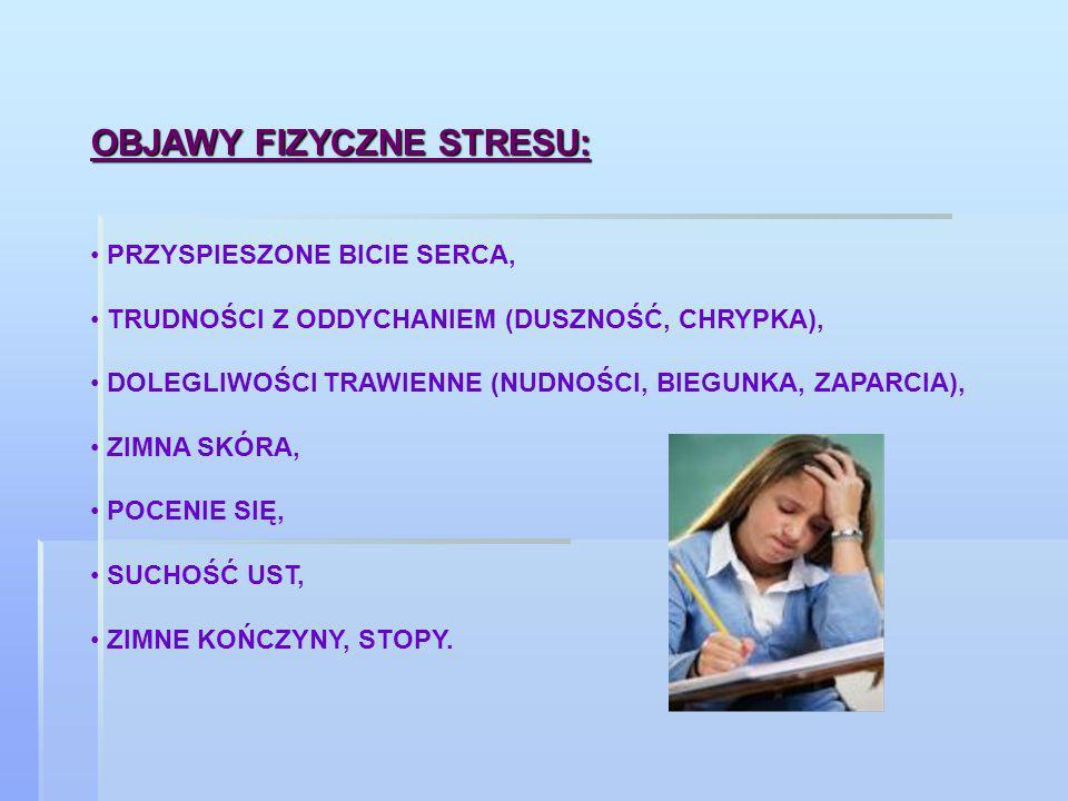 OBJAWY FIZYCZNE STRESU: