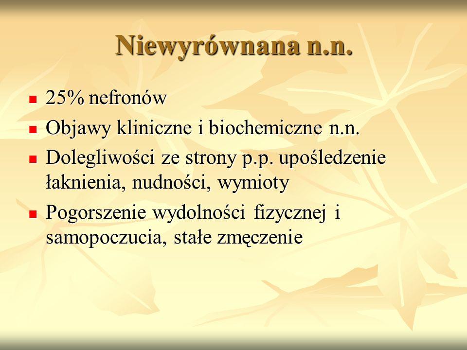 Niewyrównana n.n. 25% nefronów Objawy kliniczne i biochemiczne n.n.