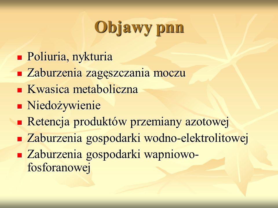 Objawy pnn Poliuria, nykturia Zaburzenia zagęszczania moczu