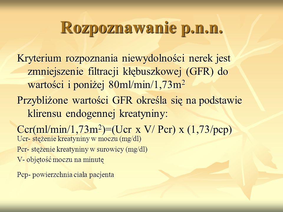 Rozpoznawanie p.n.n. Kryterium rozpoznania niewydolności nerek jest zmniejszenie filtracji kłębuszkowej (GFR) do wartości i poniżej 80ml/min/1,73m2.