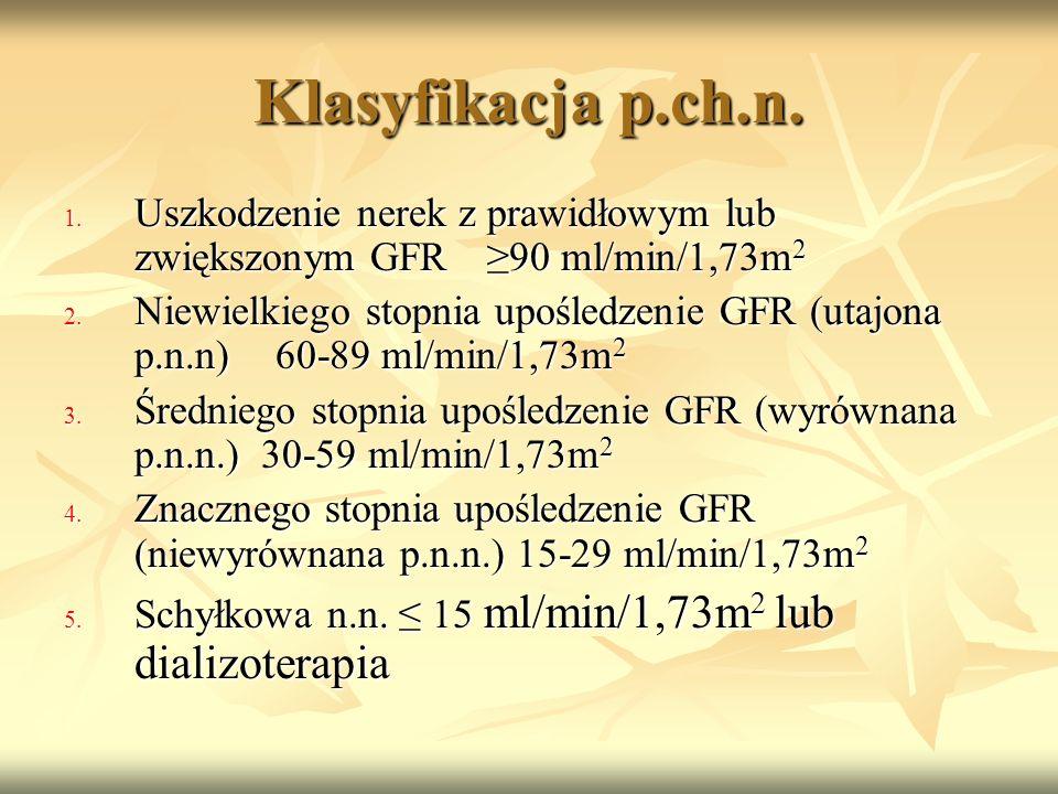 Klasyfikacja p.ch.n. Uszkodzenie nerek z prawidłowym lub zwiększonym GFR ≥90 ml/min/1,73m2.