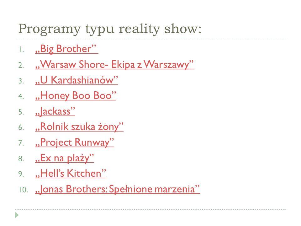 Programy typu reality show: