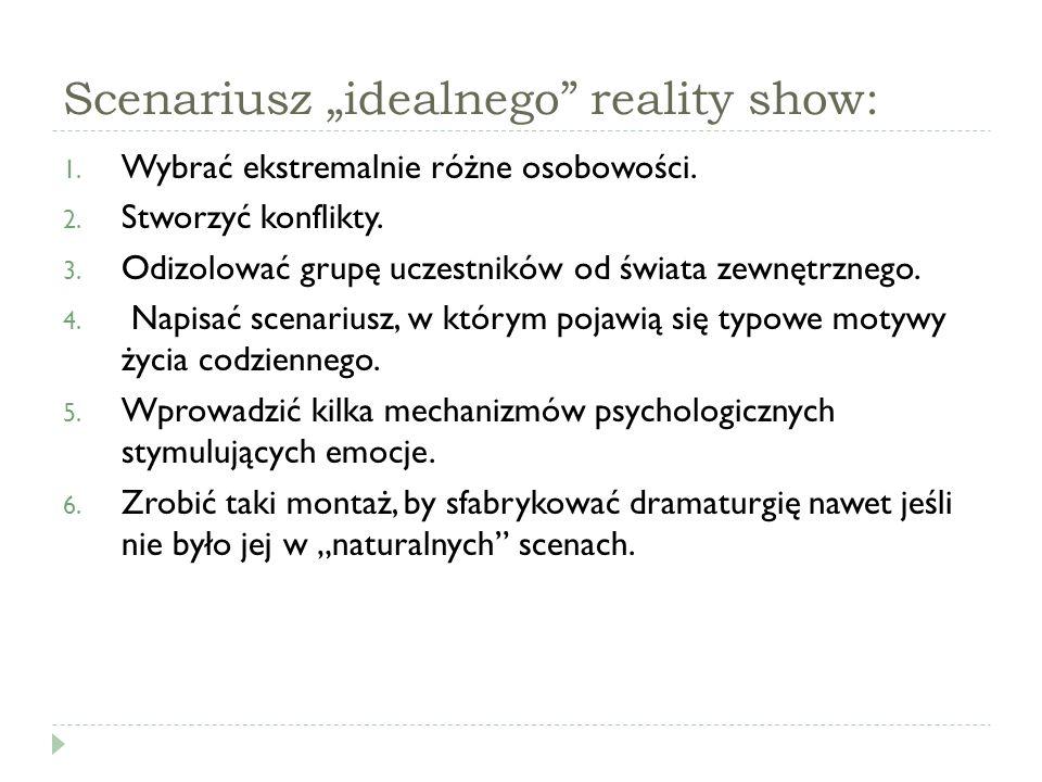 """Scenariusz """"idealnego reality show:"""