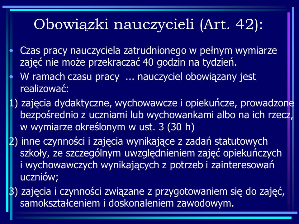 Obowiązki nauczycieli (Art. 42):