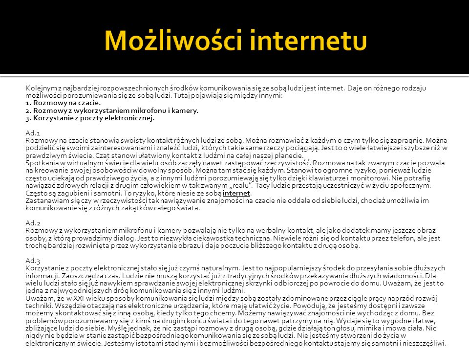 Możliwości internetu