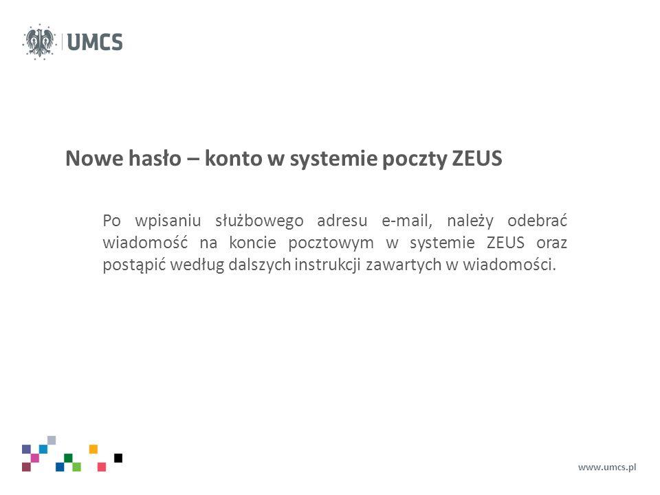 Nowe hasło – konto w systemie poczty ZEUS