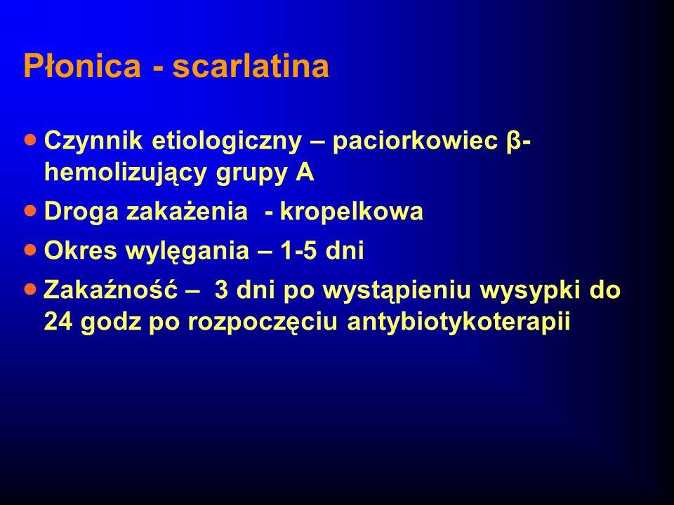 Płonica - scarlatinaCzynnik etiologiczny – paciorkowiec β-hemolizujący grupy A. Droga zakażenia - kropelkowa.