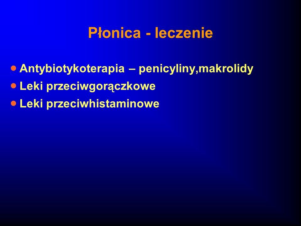 Płonica - leczenie Antybiotykoterapia – penicyliny,makrolidy