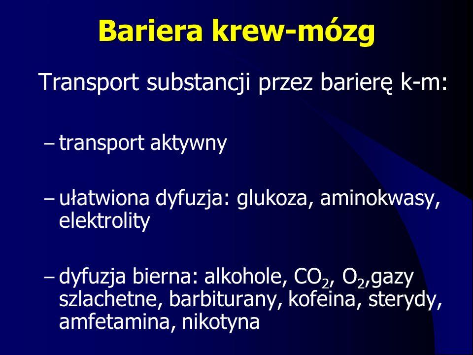 Bariera krew-mózg Transport substancji przez barierę k-m:
