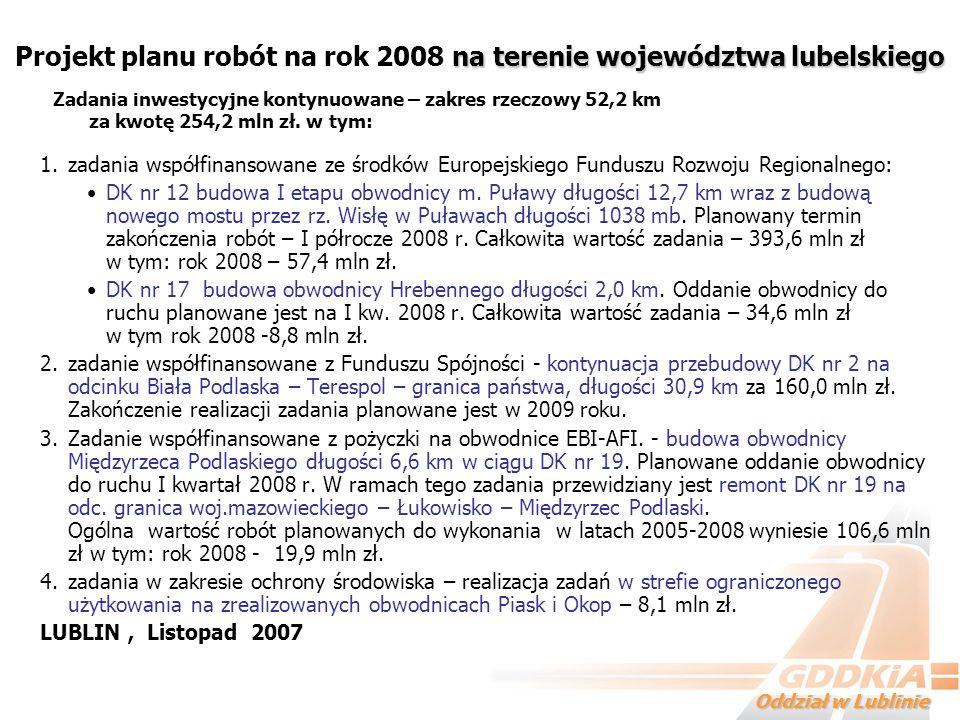 Projekt planu robót na rok 2008 na terenie województwa lubelskiego
