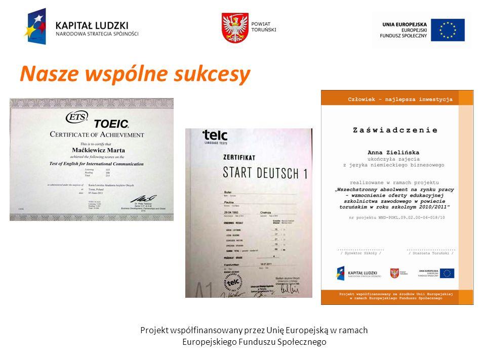 Nasze wspólne sukcesy Projekt współfinansowany przez Unię Europejską w ramach.