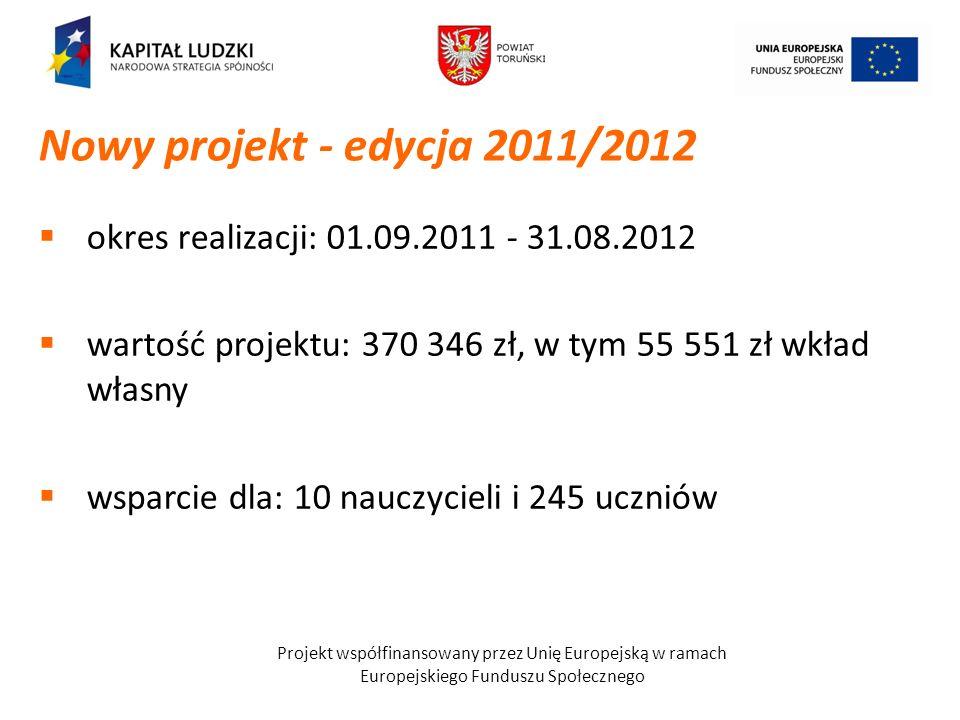 Nowy projekt - edycja 2011/2012okres realizacji: 01.09.2011 - 31.08.2012. wartość projektu: 370 346 zł, w tym 55 551 zł wkład własny.