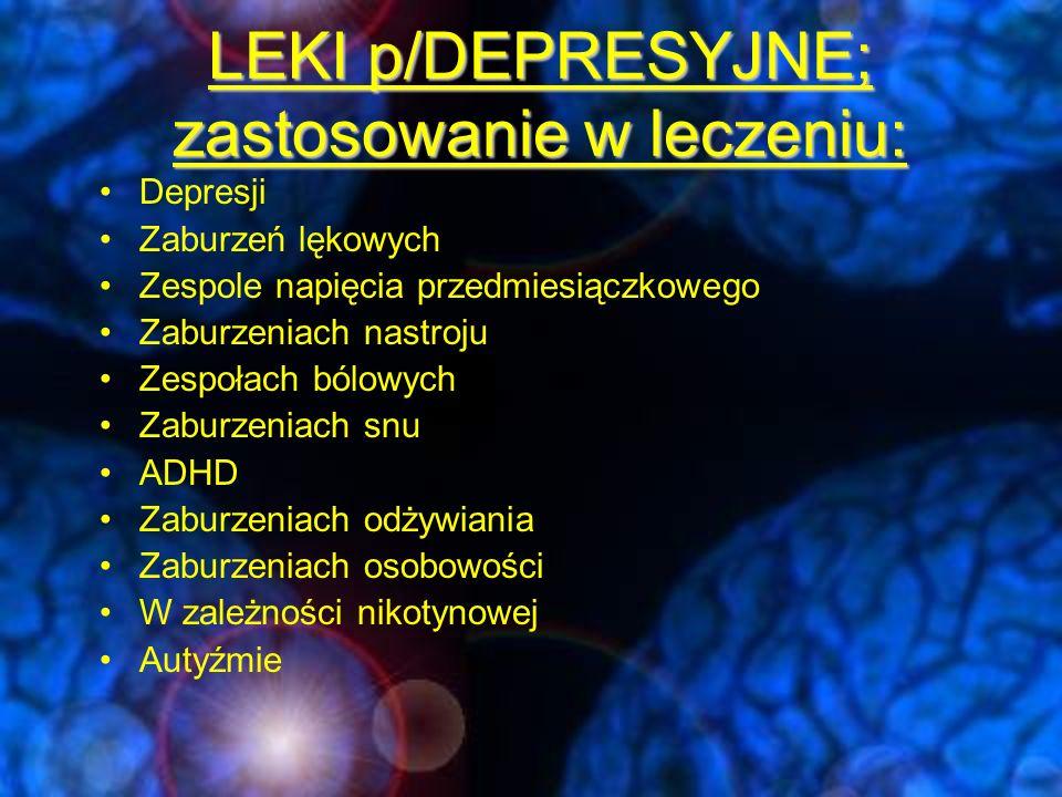LEKI p/DEPRESYJNE; zastosowanie w leczeniu:
