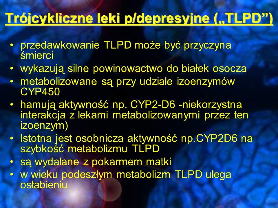 """Trójcykliczne leki p/depresyjne (""""TLPD )"""