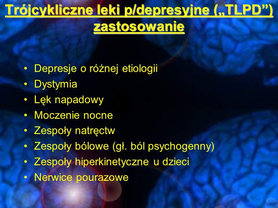 """Trójcykliczne leki p/depresyjne (""""TLPD ) zastosowanie"""