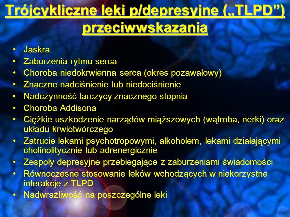 """Trójcykliczne leki p/depresyjne (""""TLPD ) przeciwwskazania"""
