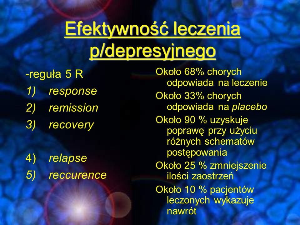 Efektywność leczenia p/depresyjnego
