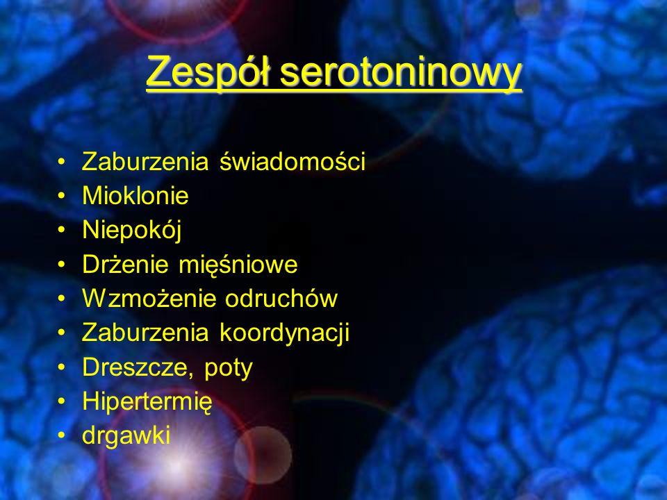 Zespół serotoninowy Zaburzenia świadomości Mioklonie Niepokój