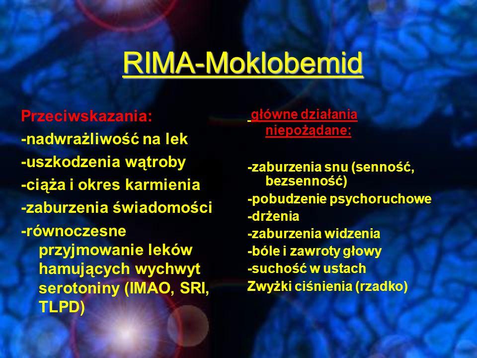 RIMA-Moklobemid Przeciwskazania: -nadwrażliwość na lek