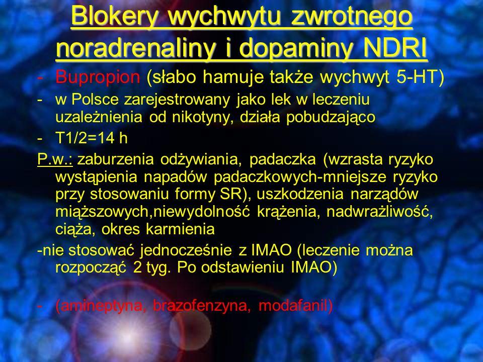 Blokery wychwytu zwrotnego noradrenaliny i dopaminy NDRI